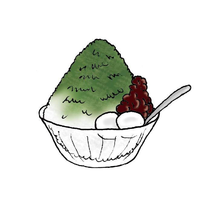 matcha shaved ice ujikintoki illustration