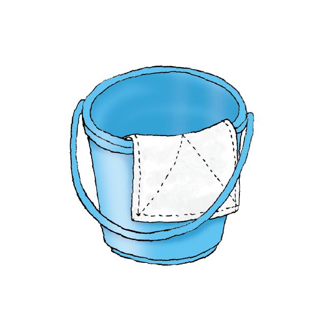 bucket and rag