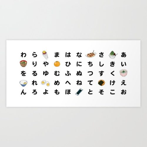 hiragana chart art print