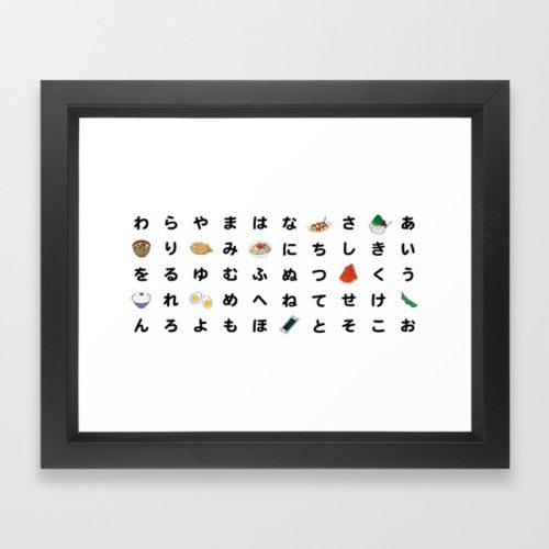 hiragana chart framed art