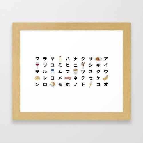 katakana chart framed print