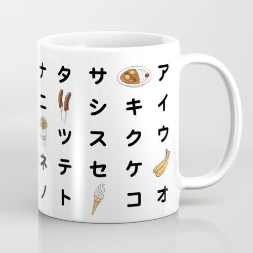 katakana chart coffee mug