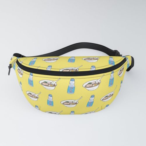 ramen ramune pattern fanny pack yellow